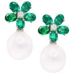 Ella Gafter Emerald and South Sea Pearl Diamond Drop Earrings Flower Design