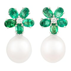 Ella Gafter Emerald and South Sea Pearl Diamond Drop Earrings Flower Design