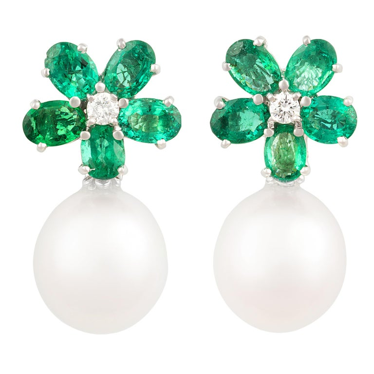 ac2495ef20312 Ella Gafter Emerald and South Sea Pearl Diamond Drop Earrings Flower Design