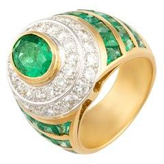Ella Gafter Emerald Diamond Cocktail Ring