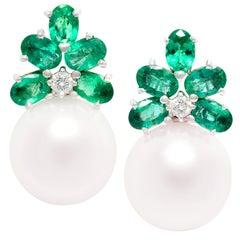 Ella Gafter Emerald Pearl Earrings