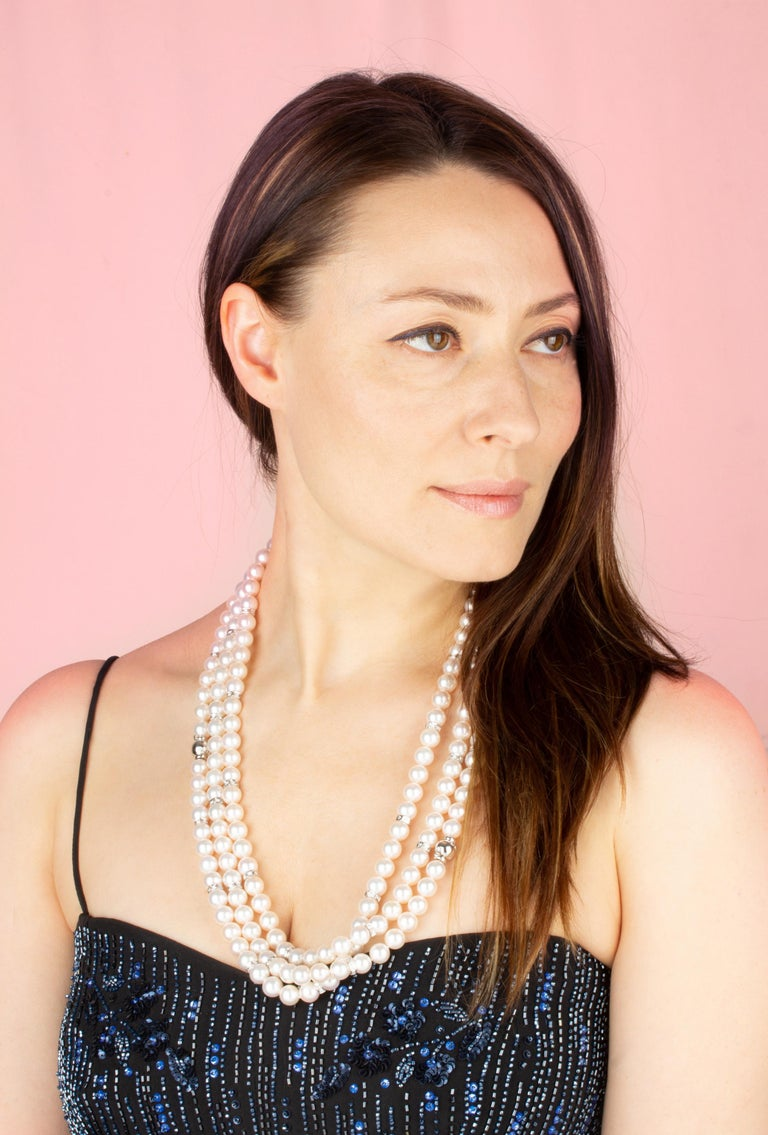 Brilliant Cut Ella Gafter Four-Strand Pearl Diamond Necklace For Sale