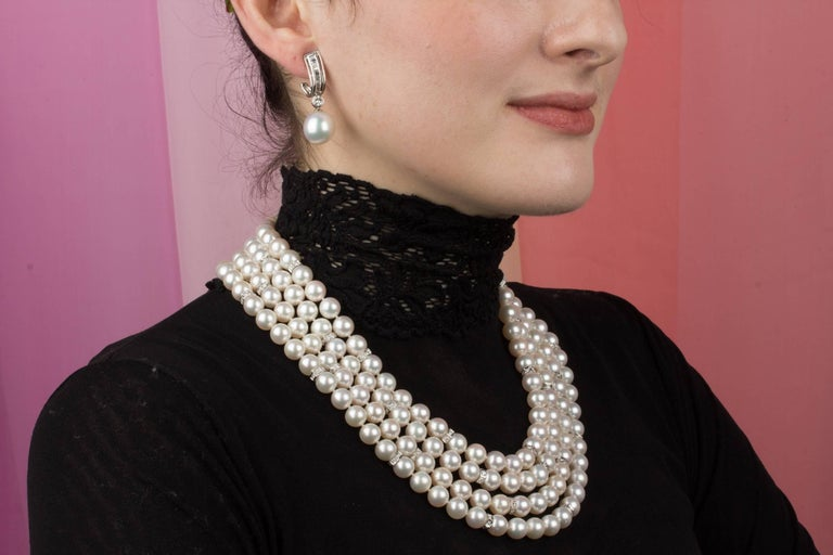 Ella Gafter Four Strand Japanese Pearl and Diamond Necklace For Sale 4