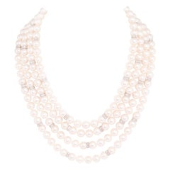 Ella Gafter Four-Strand Pearl Diamond Necklace