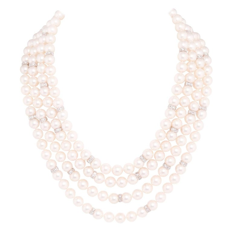 Ella Gafter Four-Strand Pearl Diamond Necklace For Sale