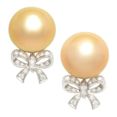 Ella Gafter Golden Pearl and Diamond Bow Earrings