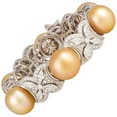 Ella Gafter Golden Pearl and Diamond Bracelet