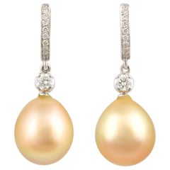 Ella Gafter Golden South Sea Pearl and Diamond Drop Earrings