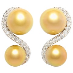 Ella Gafter Golden South Sea Pearl and Diamond Earrings