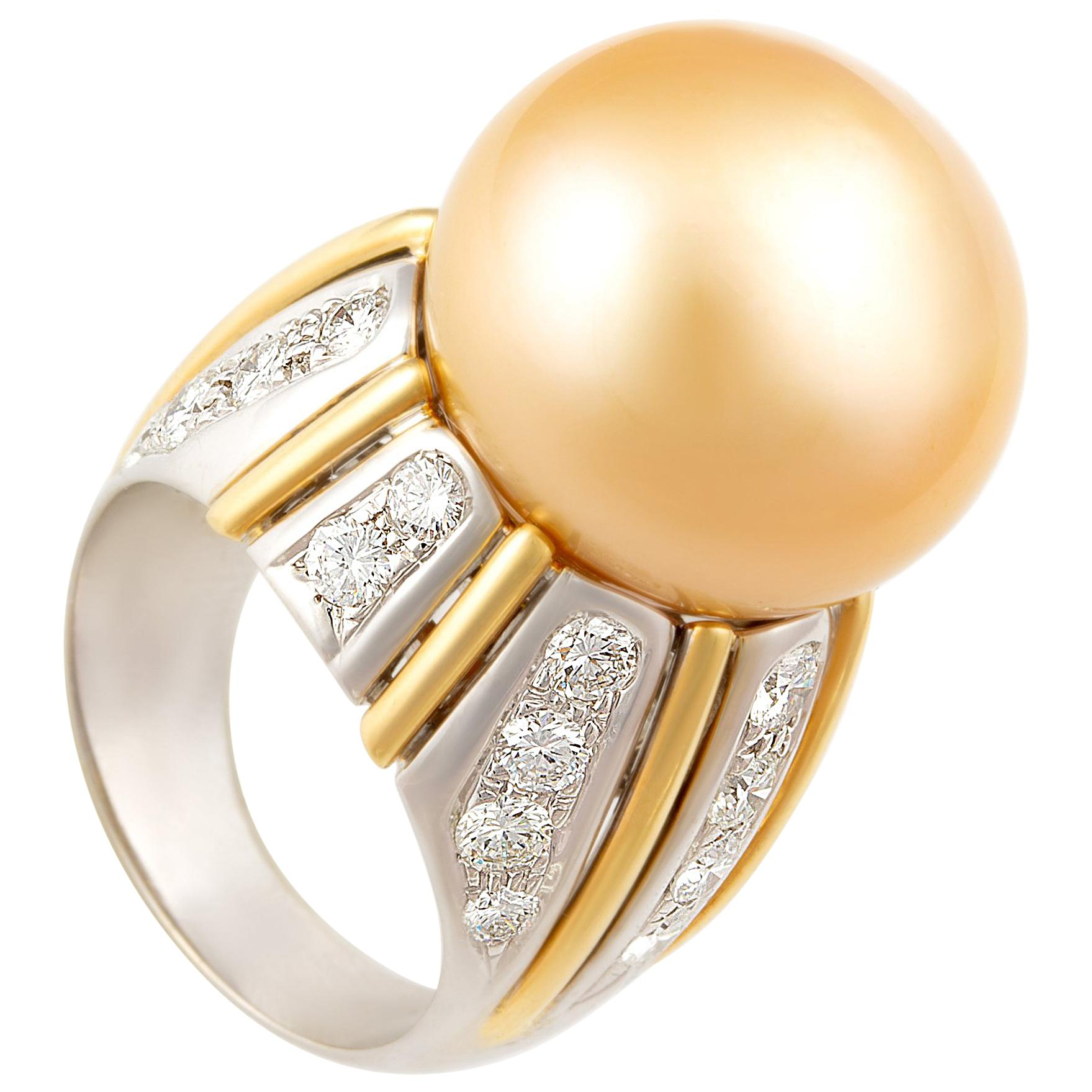 Ella Gafter 18mm Golden Pearl Diamond Ring