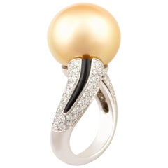 Ella Gafter Golden Pearl and Diamond Ring Onyx