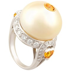 Ella Gafter Golden Pearl and Diamond Ring Yellow Sapphire