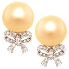 Ella Gafter Golden Pearl Diamond Bow Earrings