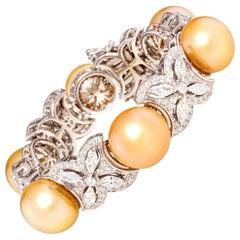 Ella Gafter Golden Pearl Diamond Cuff Bracelet
