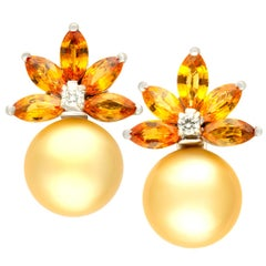 Ella Gafter Golden South Sea Pearl Diamond Yellow Sapphire Earrings