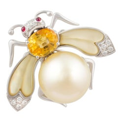 Ella Gafter Golden Pearl Diamonds Bee Brooch Pin with Yellow Sapphire