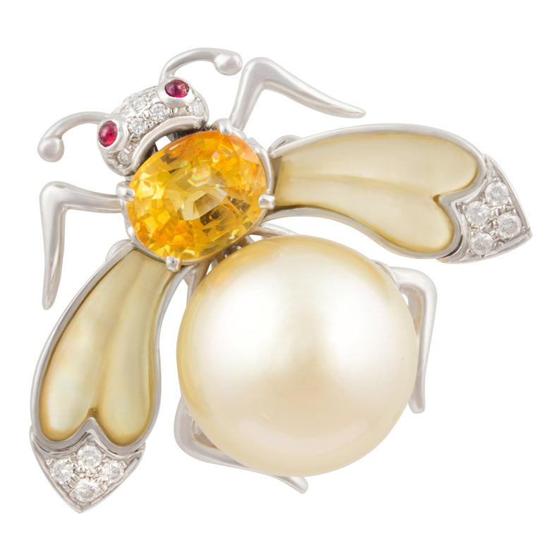 Ella Gafter Golden Pearl Diamonds Bee Brooch Pin with Yellow Sapphire For Sale