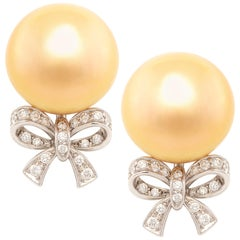 Ella Gafter Golden South Sea Pearl and Diamond Bow Earrings