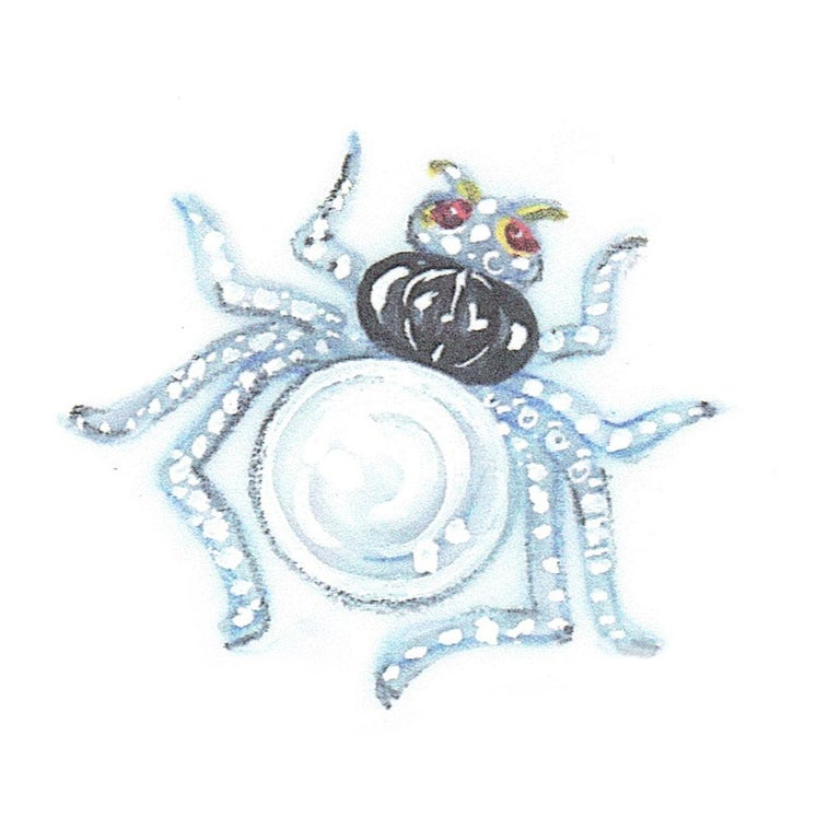Ella Gafter 19mm Pearl Diamond Spider Brooch Pin For Sale 10