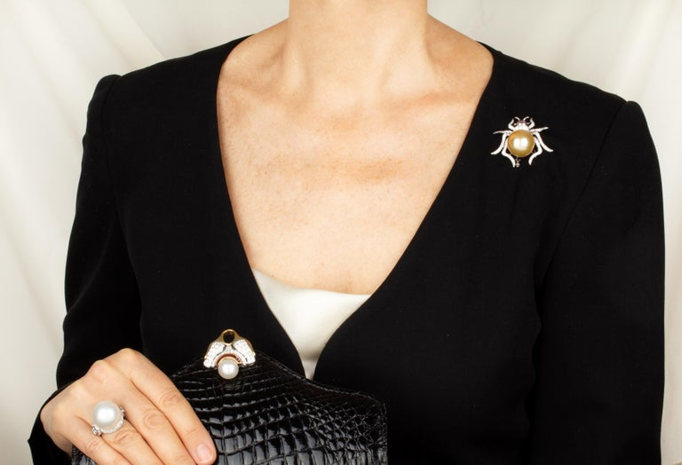 Ella Gafter 19mm Pearl Diamond Spider Brooch Pin For Sale 2