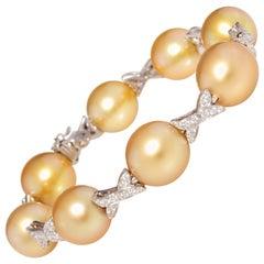Ella Gafter Golden South Sea Pearl Diamond Bracelet