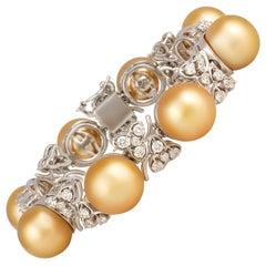 Ella Gafter Golden South Sea Pearl and Diamond Bracelet