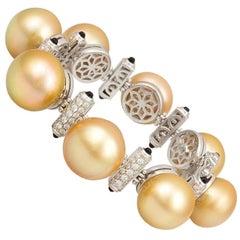 Ella Gafter Golden Pearl Diamond Onyx Cuff Bracelet