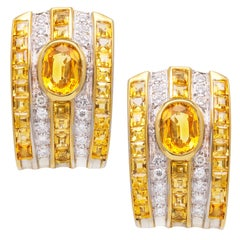 Ella Gafter Golden Yellow Sapphire and Diamond Clip-On Earrings