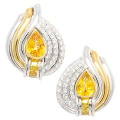 Ella Gafter Golden Yellow Sapphire Diamond Earrings