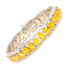 Ella Gafter Golden Yellow Sapphire Diamond Bangle Bracelet