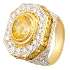 Ella Gafter Golden Yellow Sapphire Diamond Pinky Cocktail Ring