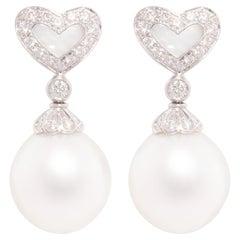 Ella Gafter Heart-Shape Pearl Diamond Earrings