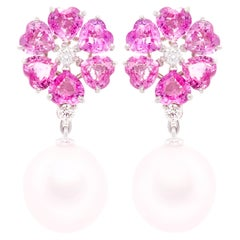Ella Gafter Heart Shape Pink Sapphire Earrings South Sea Pearl Diamonds