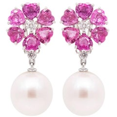 Ella Gafter Heart Shape Pink Sapphire South Sea Pearl Diamond Flower Earrings