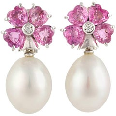 Ella Gafter Heart Shape Pink Sapphire Pearl Diamond Dangle Drop Flower Earrings