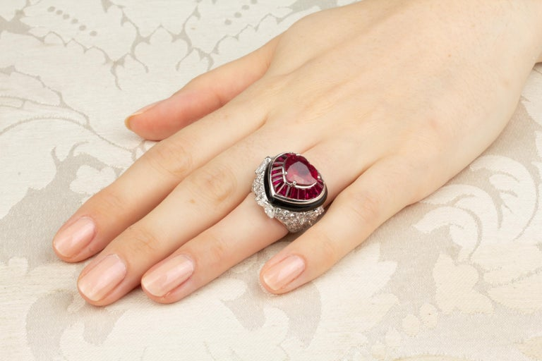 Ella Gafter Heart Shape Ruby and Diamond Ring with Onyx 2