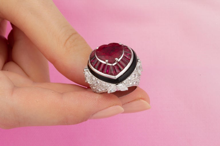 Ella Gafter Heart Shape Ruby and Diamond Ring with Onyx 5