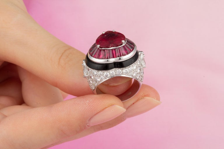 Ella Gafter Heart Shape Ruby and Diamond Ring with Onyx 7