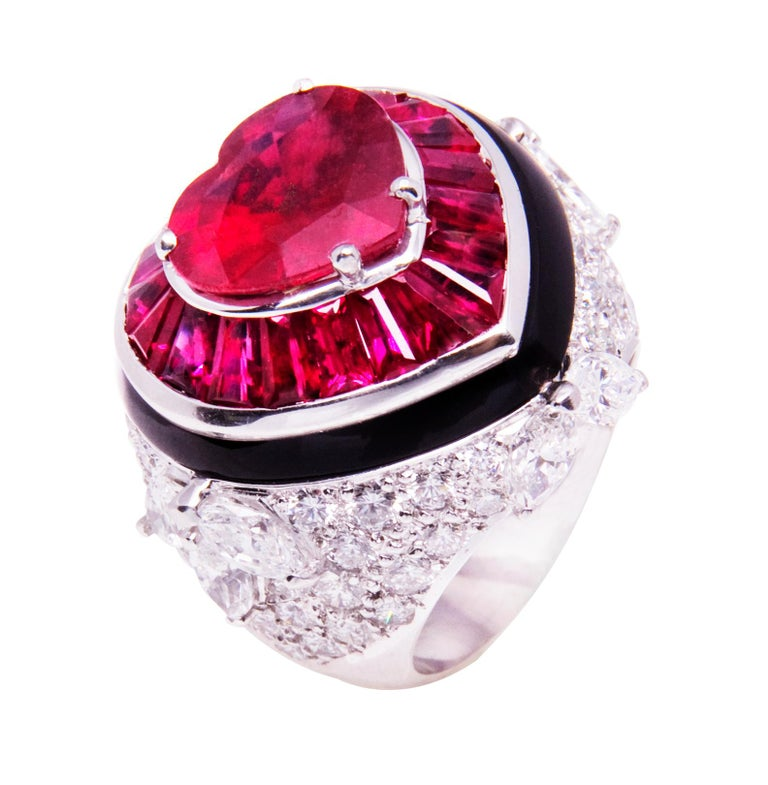Ella Gafter Heart Shape Ruby and Diamond Ring with Onyx 1
