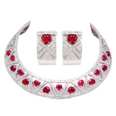 Ella Gafter Heart Shape Ruby Diamond Necklace and Earrings Set