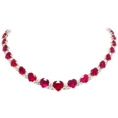 Ella Gafter Heart Shape Ruby Diamond Riviera Necklace