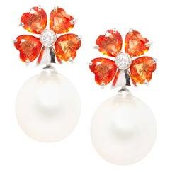 Ella Gafter Heart Shape Sapphire Pearl Earrings