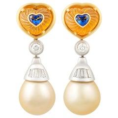 Ella Gafter Heart Shape Sapphire South Sea Pearl Diamond Earrings