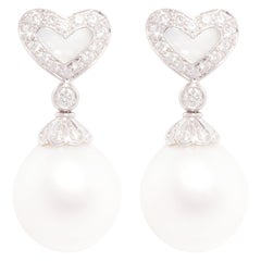Ella Gafter Heart-Shape South Sea Pearl and Diamond Earrings White Gold