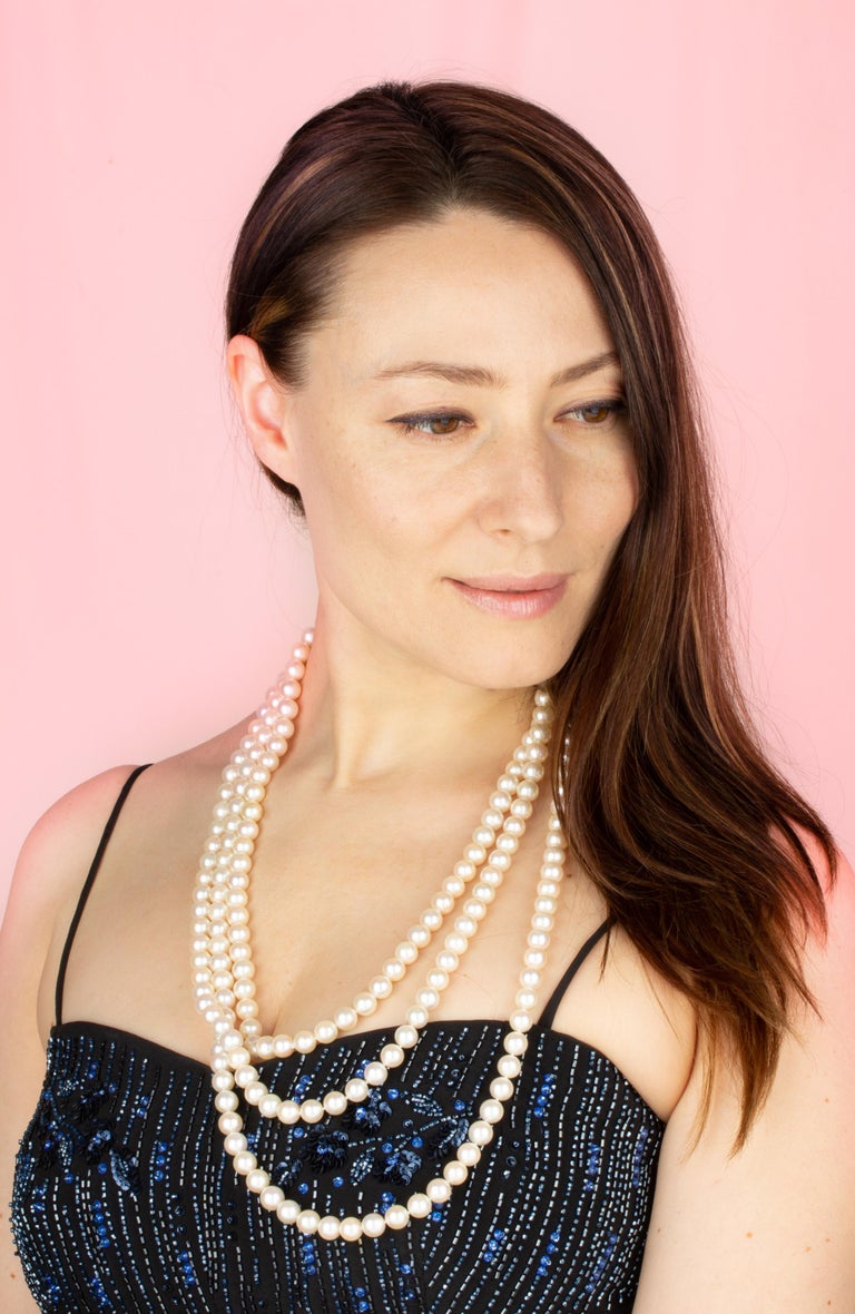 """The 84"""" Japanese Akoya pearl necklace consists of 222 homogeneous round pearls (Pinctada Fucata) of 9.5mm diameter. The pearls display a lovely nacre, lustre, and iridescence. The necklace is held together by a handmade 18 carat white gold clasp"""