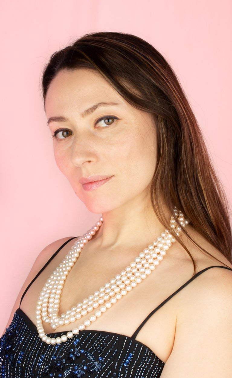 """The 104"""" Japanese Akoya pearl necklace consists of 302 homogeneous round pearls (Pinctada Fucata) of 8mm diameter. The pearls display an attractive nacre, lustre, and iridescence. The necklace is held together by a handmade 18 carat white gold clasp"""
