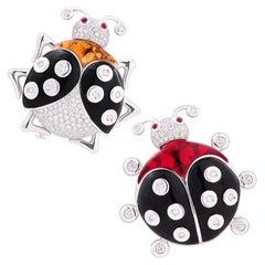 Ella Gafter Ladybug Pair Diamond Onyx Brooch Pin