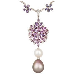 Ella Gafter Lavender Sapphire and Diamond Necklace