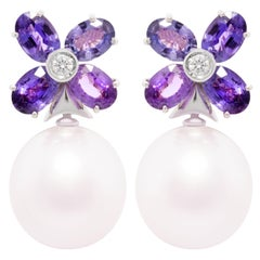 Ella Gafter Lavender Sapphire Pearl Flower Earrings