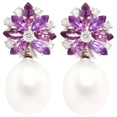 Ella Gafter Lavender Sapphire South Sea Pearl Earrings Flower Design